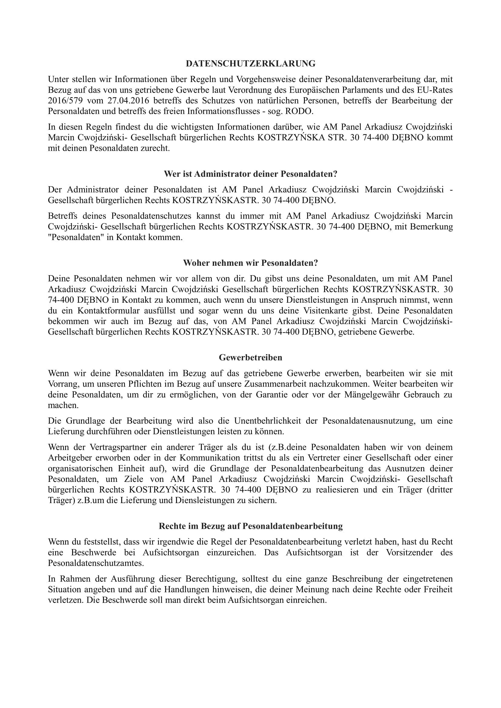 Datenschutzerklarung Zäune Oranienburg